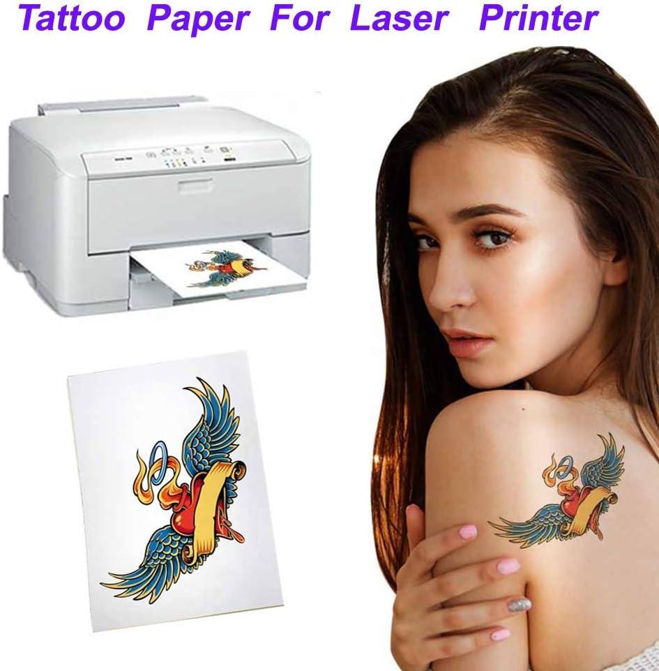 Papel de tatuaje temporal tamaño A4 (8.3 x 11.7 pulgadas), 5 hojas ...