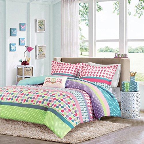 Girls Teen Kids Modern Comforter Bedding Set Pink Purple Aqua Blue Polka...