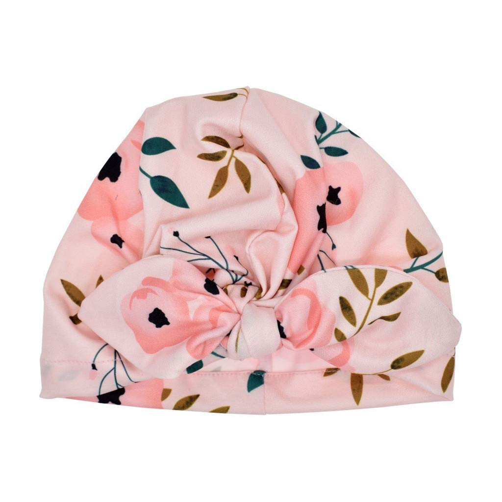 Turban Bowknot Headwear Head Wrap Newborn Toddler Baby Boy Girl Sun Hat Floral Cap Photo Props Pink