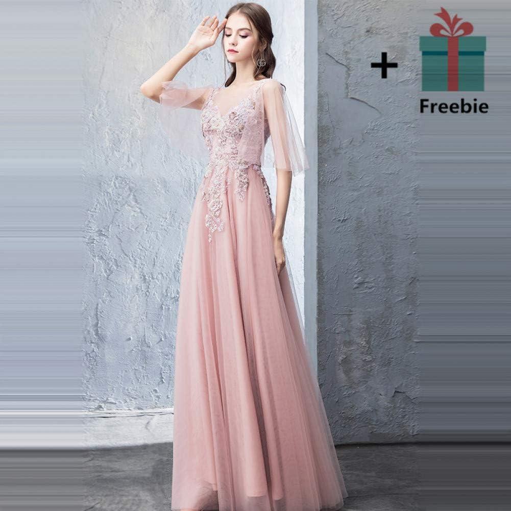 FEJIWO Abendkleid Soja Farbe Exquisite Pailletten Perlen Kristall