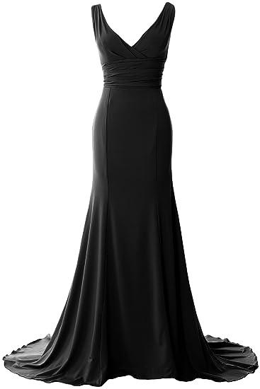 777c34ebfd34 MACloth Elegant Mermaid V Neck Simple Prom Dress Jersey Evening Formal  Gown: Amazon.co.uk: Clothing