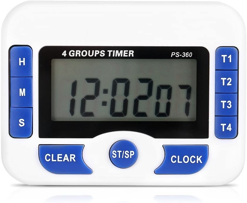 Fdit Count Down Timer Multi-function 4 Channels Digital Kitchen Cooking Timer 4 Groups Set Magnetic Laboratory Meeting Timer with Digital Alarm Clock Function