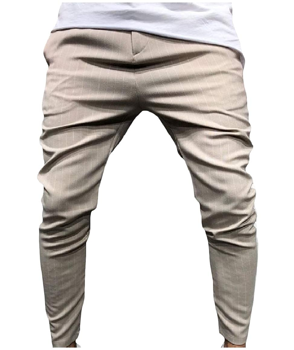 Sayah Mens Pencil Pants Silm Fit Striped Cozy Mid Rise Casual Trousers