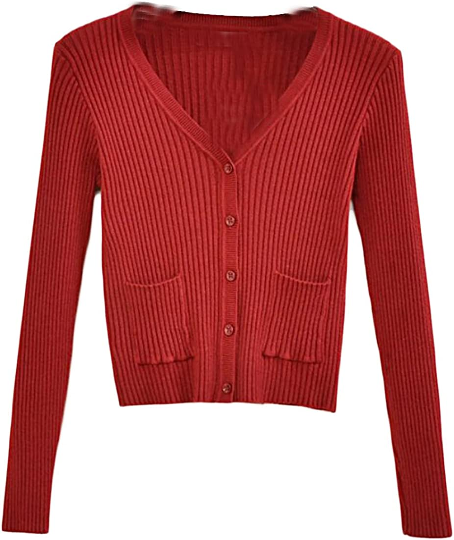 Earnest Womens Fashion V Neck Button Down Sweater Cardigan Wine Red OS