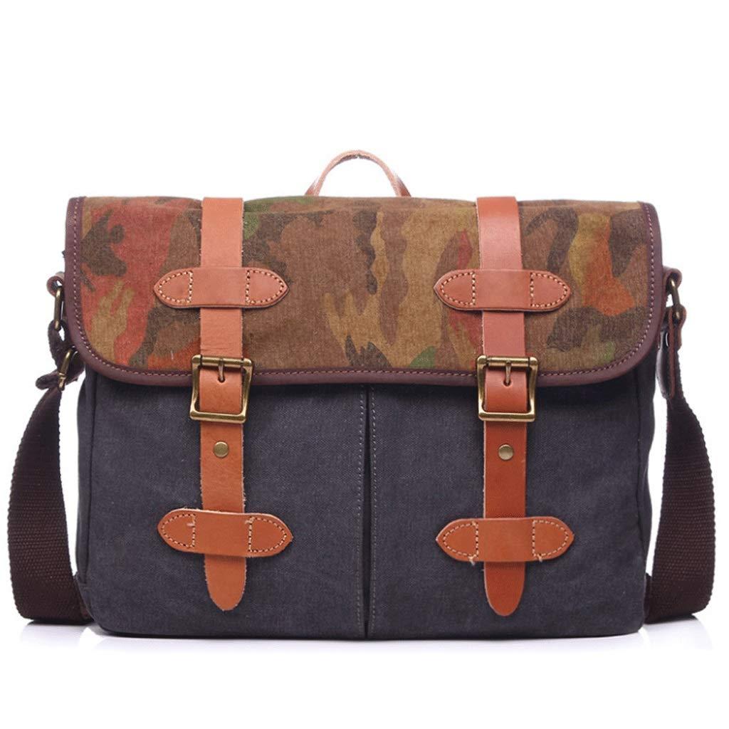 Retro Male Messenger Bag Shoulder Bag Large Capacity Computer Bag Color : Brown, Size : M