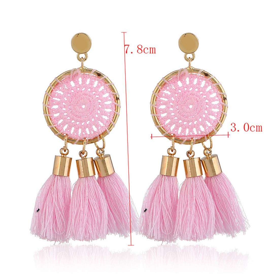 Fashion Retro Simple Exaggerated Tassel Earrings Hand-Woven Hollow Earrings Female Long Exaggerated Wholesale Red Pink