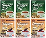 Natural Garden 100% All Natural Ginger Tea Original & Honey 14 Tea Sachets (Pack of 6)