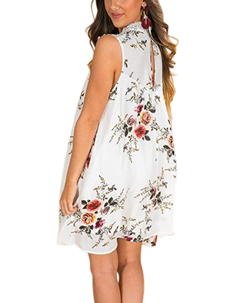 cfd325080798 Blooming Jelly Women Chiffon Lace Dress Flower Print High Neck Sleeveless  Back-Hole Button Dresses Loose Above Knee Midi Dresses for Women Summer  ...