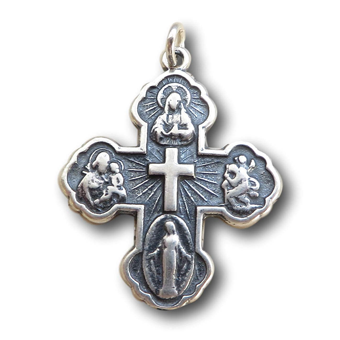Antique Reproduction Sterling Silver Four Way Cross