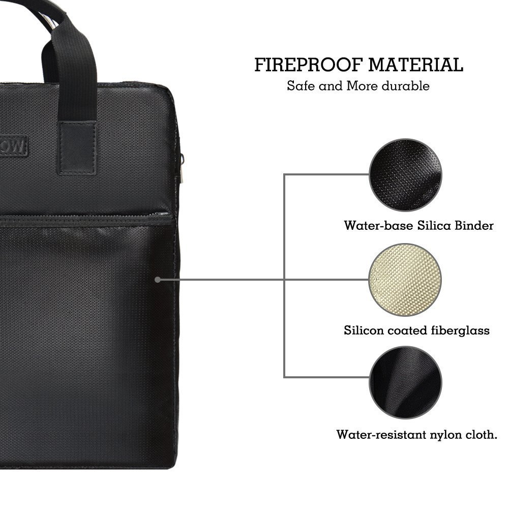 Water Resistant Briefcase Document Bag 15 x 11 x 3 inch NON-ITCHY Silicone Coated Fire Resistant Money Cash Holder Waterproof Safe Storage Handbag for Notebook Computer,Money,Documents,Jewelry Passport and more