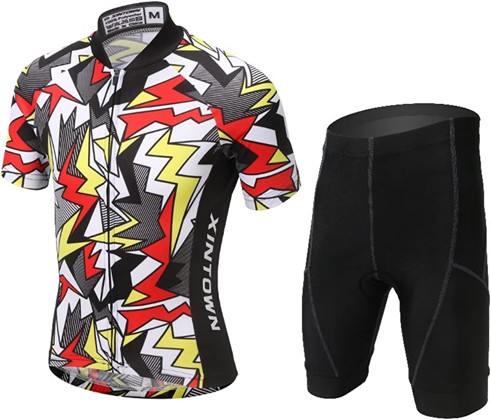 FREE FISHER Cycling Jersey Kids,Short Sleeve Cartoon Road Mountain Bike Jersey Set//Top//Short for Girls Boys Breathable