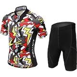 LSERVER Boys Girls Kids Bright Jersey Set Shorts for Summer Cycling Short Sleeve