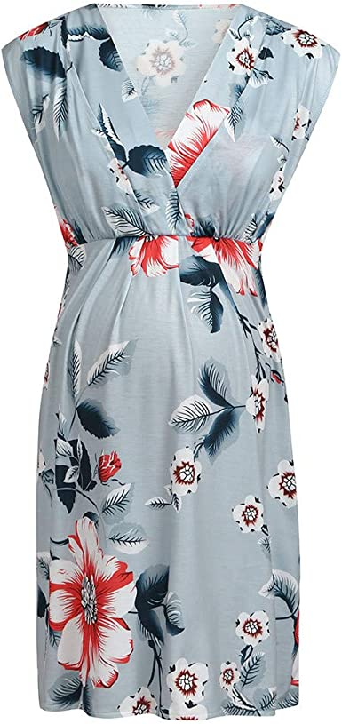 Goodtrade8/® Maternity Summer Floral Dress Womens Mother Pregnant Long Maxi Clothing