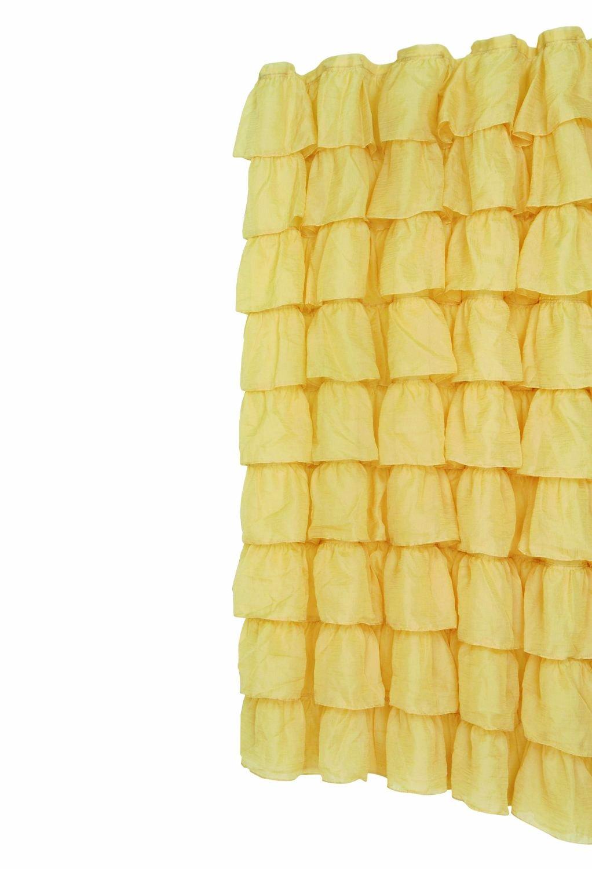 Amazon.com: Gold Carmen Ruffled Bouffant Fabric Shower Curtain ...