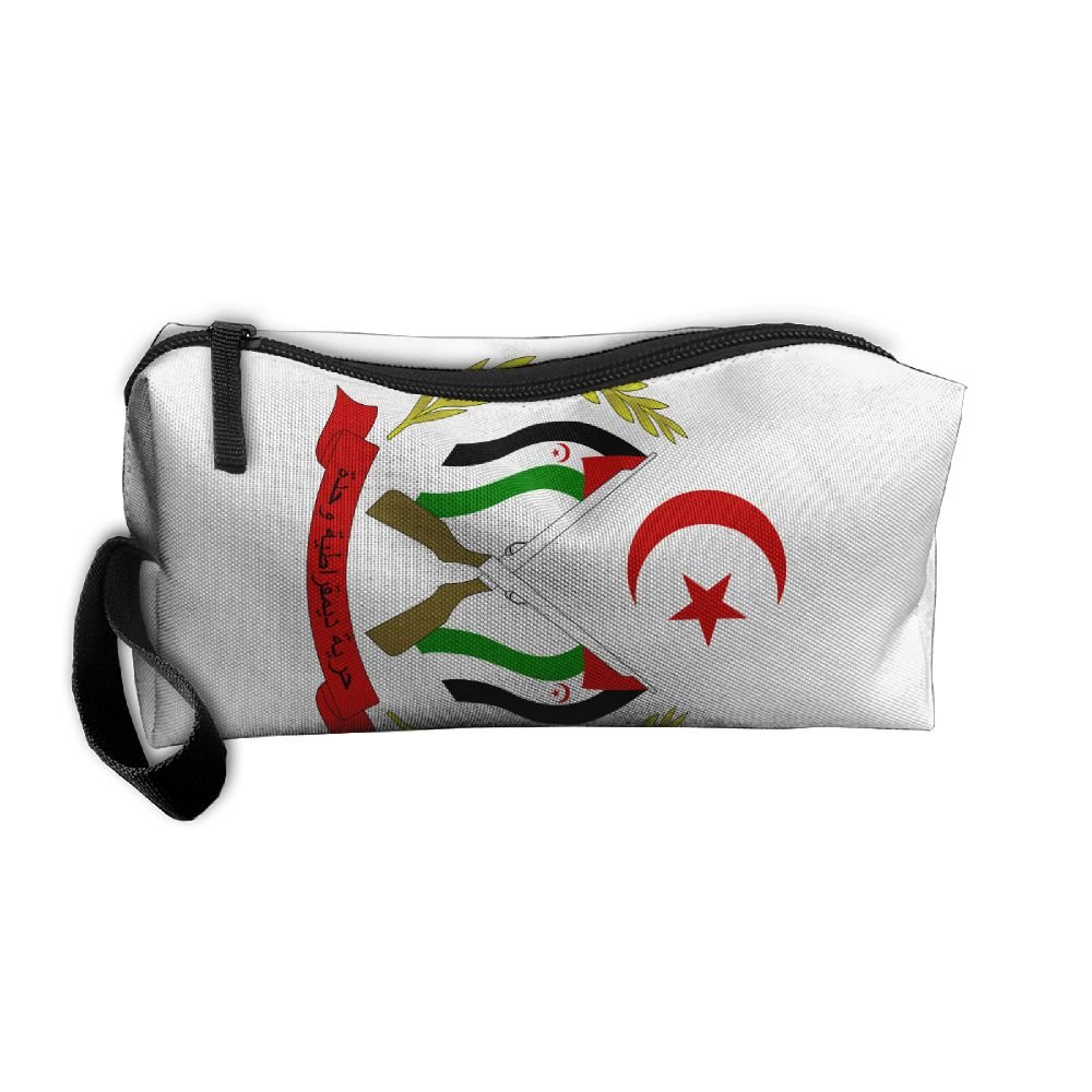 HSs4AD Coat Of Arms Of The Sahrawi Cosmetic Bag Travel Toiletry Bag Portable Makeup Pouch Hanging Organizer Bag