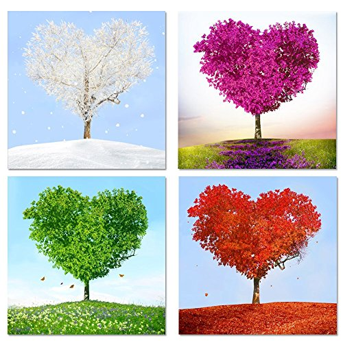 Sea Charm - 4 Piece Canvas Wall Art,Love Heart Shaped Trees Picture Canvas Prints Nature Landscape Painting Giclee Artwork Printed,Romantic Home Bedroom Decoration Ready to Hang (12