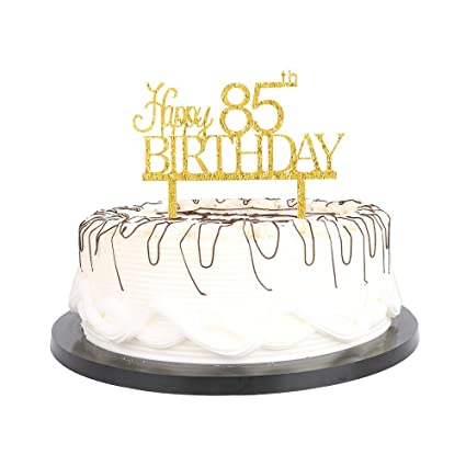 Amazon YUINYO Happy 85th Birthday Cake Topper Gold