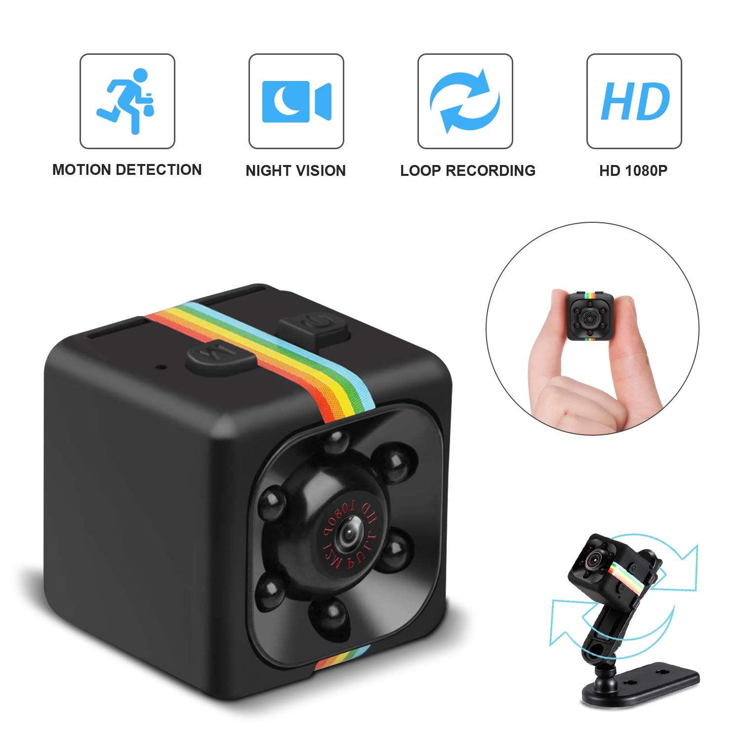 Mini Cop Spy Cam As Seen On TV 1080P Spy Hidden Camera Nanny Cam with Night Vision and Motion Detection Wireless Wearable Spy Body Camera Security Surveillance for Home Car Office Indoor and Outdoor by ehomful