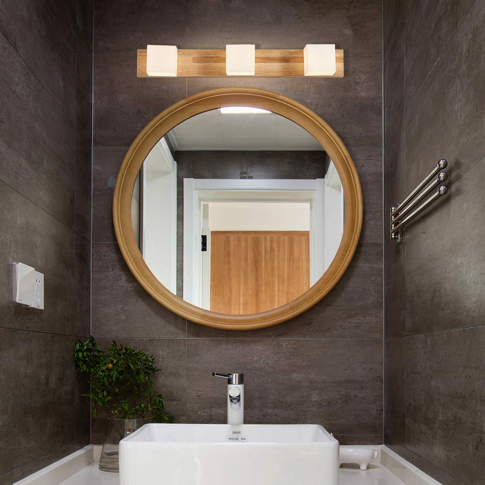 warmwei/ß IP44 Lampenschirm kann frei rotieren,Badezimmerlampe Badlampe Spiegel Wand Schminklicht LED Spiegelleuchte Bilderleuchte Holzlampenhalter