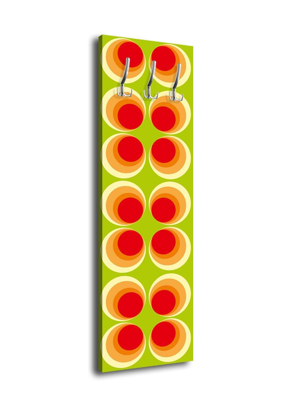 wandmotiv24 Perchero Retro con círculos Naranja G066 40 x ...