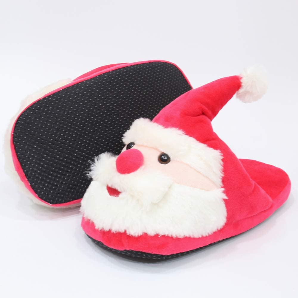 Funkeet Christmas Santa Slippers Winter Plush Stuffed Slippers House Indoor Shoes for Unisex Kids Adults