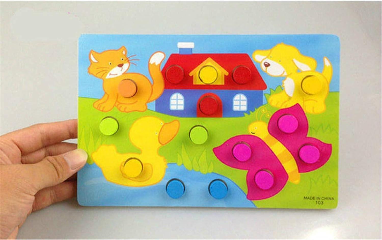 QPM Cartoon Animal Educativo Geometría de Cuentas de Madera Reloj Rompecabezas Gadgets Reloj a Juego Juguete para niños, amimal Jigsaw