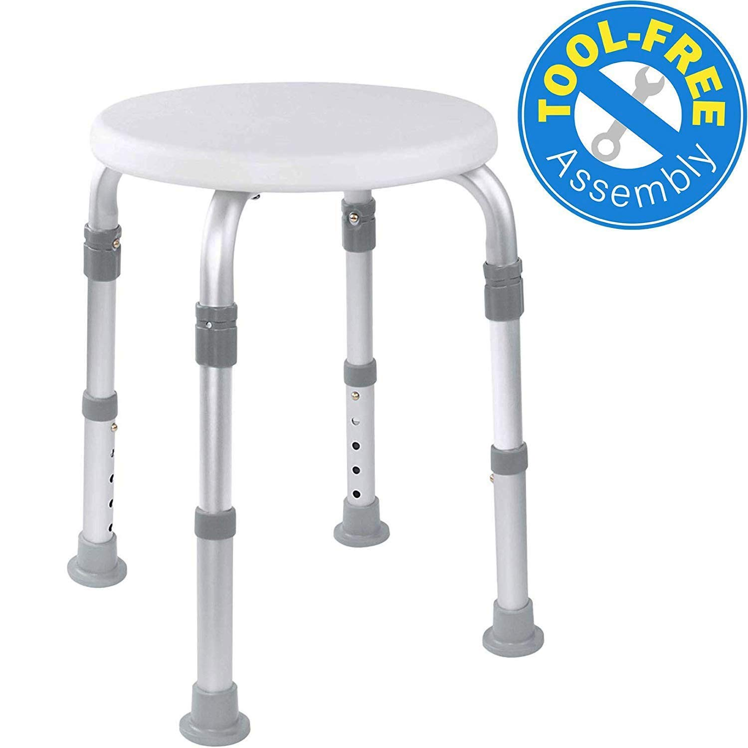 Medical ToolFree Assembly Adjustable Shower Stool Tub Chair and Bathtub Seat Bench with AntiSlip