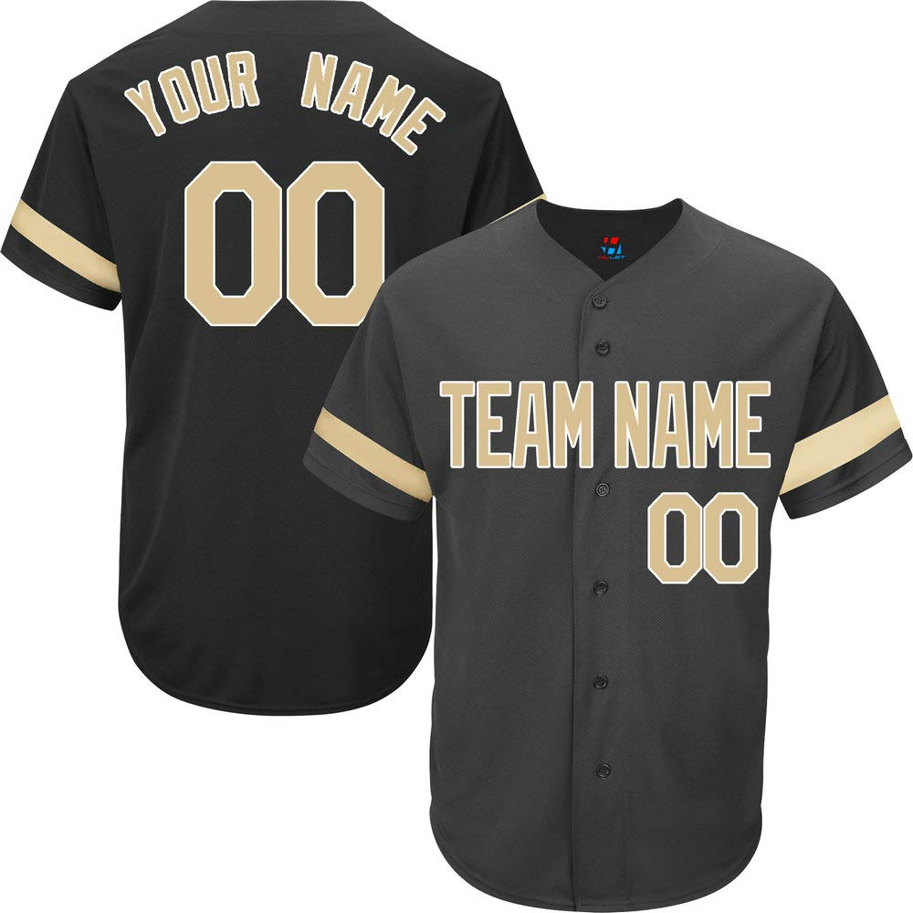 Black Customized Baseball Jersey for Men Full Button Mesh Big and Tall Personalized Name & Numbers,Gold-White Size 5XL by Pullonsy