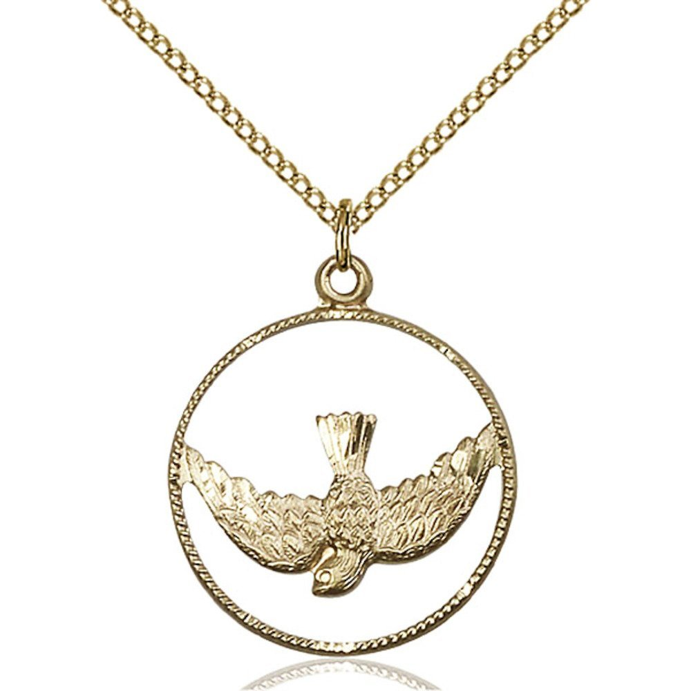 Gold Filled Holy Spirit Pendant 1 x 7/8 inches with Gold Filled Lite Curb Chain by Bonyak Jewelry Saint Medal Collection