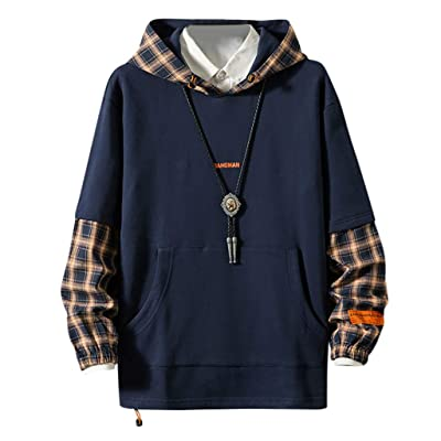 WINJUD Mens Pullover Plaid Stitching Fake Two HoodedTop Large Size Long Sleeve Casual Sweatshirt at Men's Clothing store