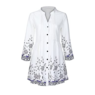 6ffbbbf1fb2 Hatoys Women s Ladies Fashion Winter Casual Casual Button V-Neck Printed T Shirt  Tops Blouse