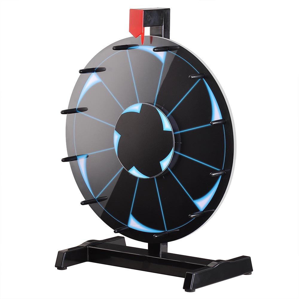 WinSpin 15'' Tabletop Editable Prize Wheel 12 Slot Spinning Game with Dry Erase Tradeshow Carnival Black
