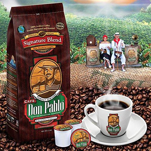 5LB Cafe Don Pablo Gourmet Coffee Signature Blend - Medium-Dark Roast Coffee - Whole Bean Coffee - 5 Pound (5lb ) Bag