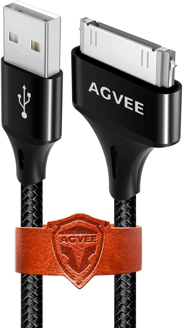 AGVEE [3 Pack 6ft] for Old iPhone 4/4S iPad 1/2/3 iPod Charger Cable, 30 Pin Heavy Duty Fast Unbreakable Nylon Braided Slim Metal Shell Long Charging Data Sync Cord with Leather Ties, Black