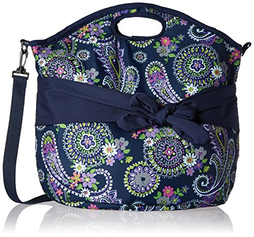 - Fit & Fresh Maui Insulated Beach Bag for Women, Large Tote for Beach or Pool, Navy Paisley