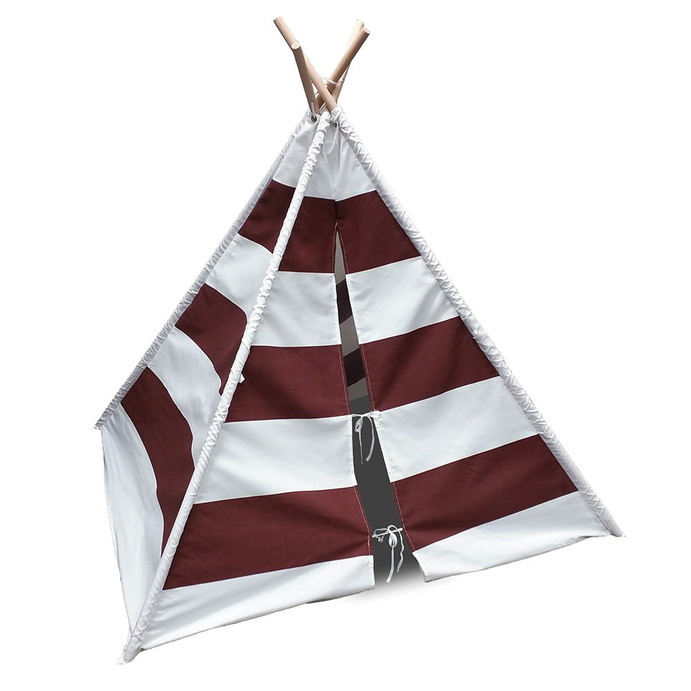 Modern Home Children's Canvas Tepee Set with Travel Case Brown White Stripes