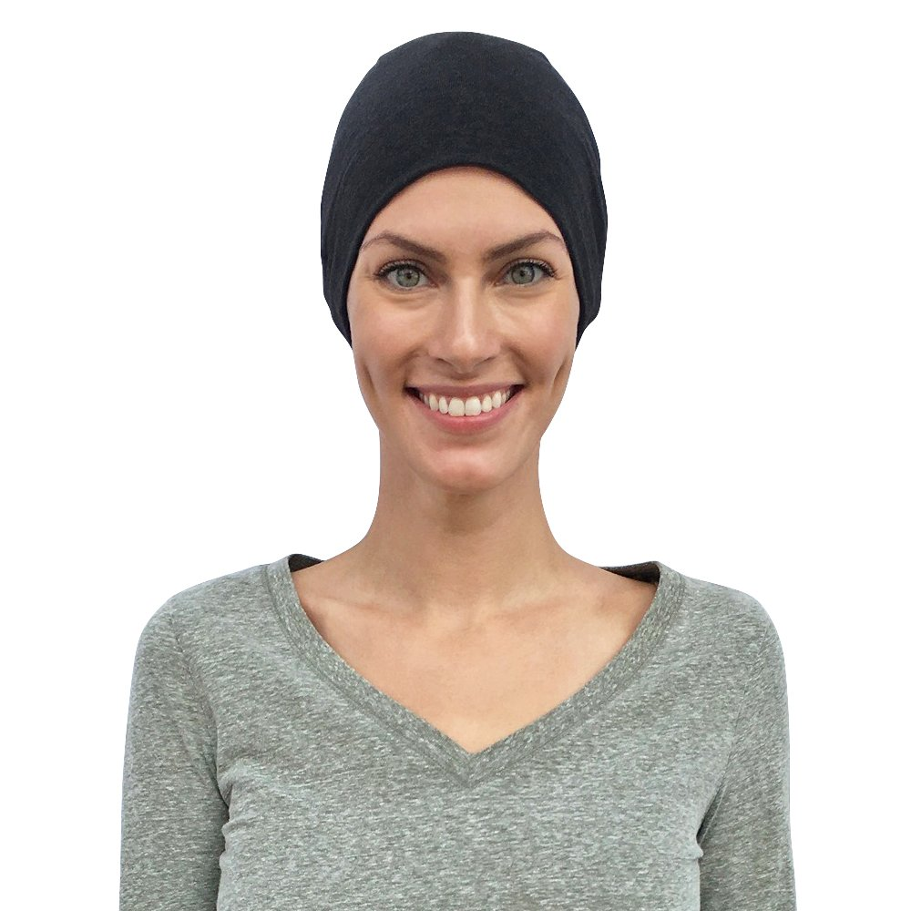 Chemo Caps for Women, Cancer Hats, 100% Organic Cotton, Sleep Headwear Gifts for Patients (Small/Petite, Black)