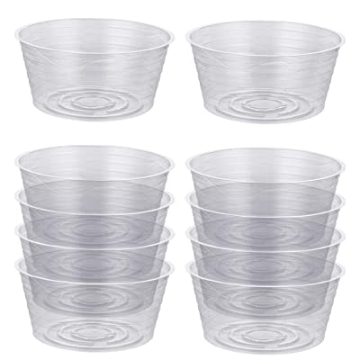Idyllize 10 Pieces of 12 Inch Clear Thin Deep Plastic Plant Saucer Drip Tray for Pots (12'') : Garden & Outdoor