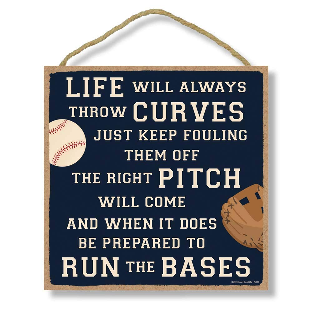 Honey Dew Gifts Home Sign, Life Will Always Throw Curves 10 inch by 10 inch Hanging Wall Baseball Decor, Decorative Wood Sign, Baseball Gifts