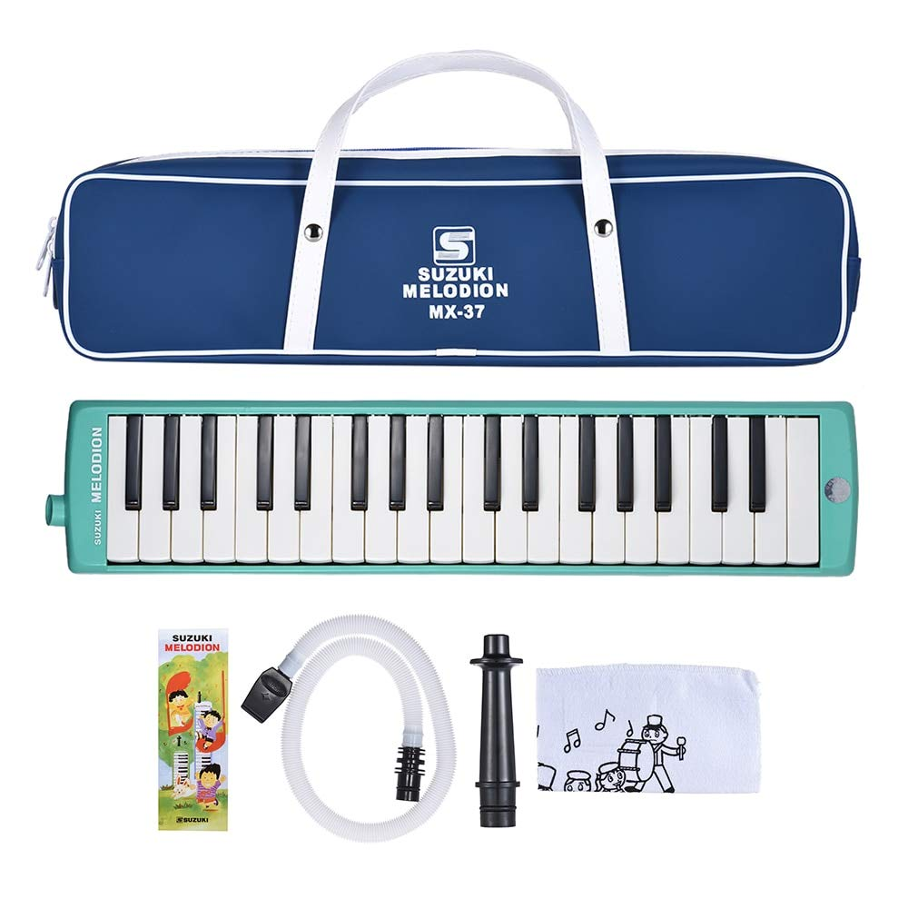Bowbof - SUZUKI MX-37D 37-Key Melodion Melodica Pianica Musical Instrument with Long & Short Mouthpiece Carry Bag Cleaning Cloth for