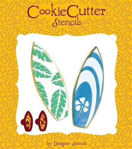 Surfboard Cookie Stencil Set (no cutter) by Designer Stencils by Designer Stencils