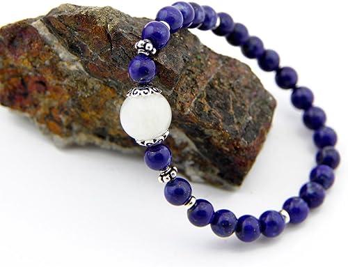 Agathe creation PA032014 Bracelet lapis lazuli Fait main Perle centrale en Argent 925-6mm Sur mesure