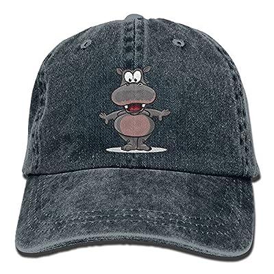 Unisex Cute Animal Grey Hippopotamus Adjustable Denim Cap Trucker Hat