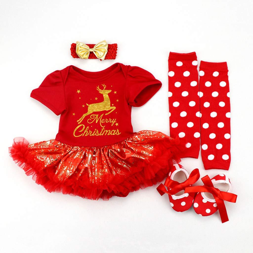 Mein erstes Weihnachten 4tlg Xmas Baby Kleidung Set Newborn Neugeborenes M/ädchen Weihnachtsoutfit Baby Kleid T/üt/ü Bodys Strampler Stirnband Beinw/ärmer Leggings Schuhe Christmas Kinderkleidung