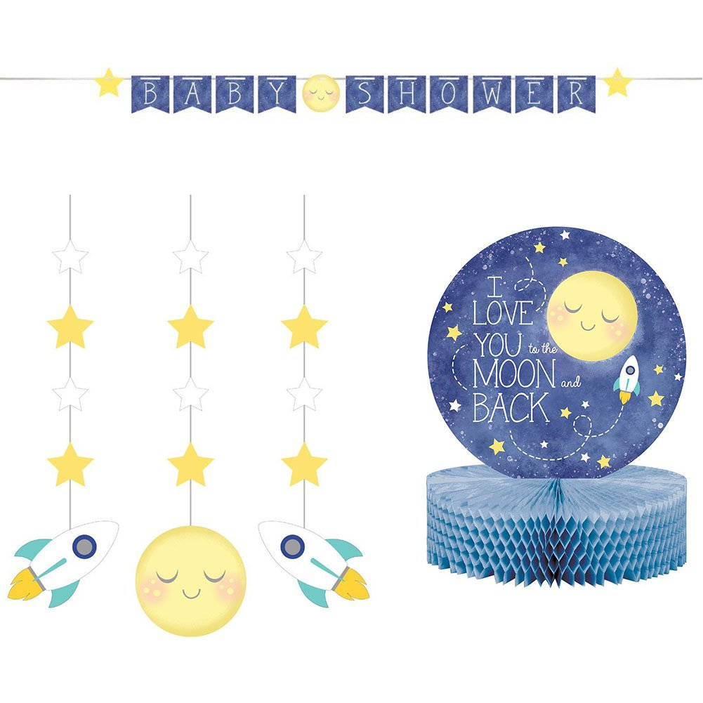 to The Moon and Back Party Supply Pack: Jointed Banner, Dizzy Danglers, and Centerpiece (Variety Pack Bundle)