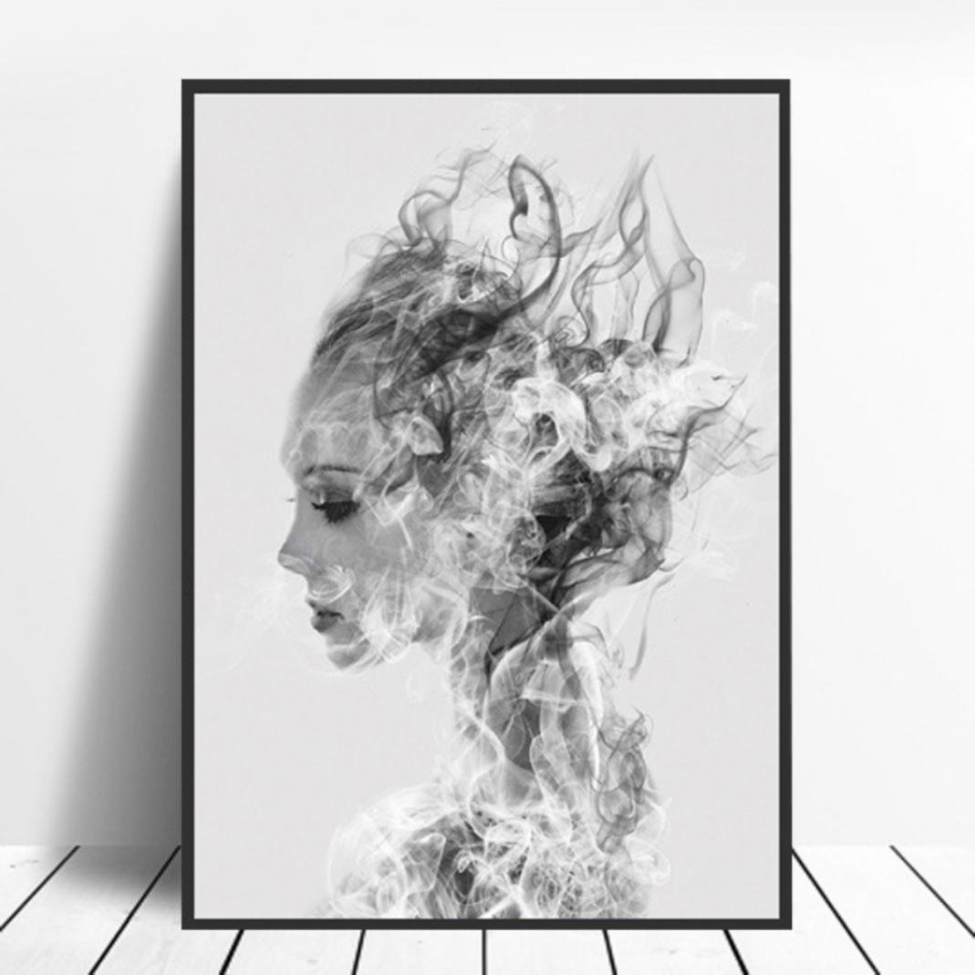 SWIDUUK Nordic Girl Black White Canvas Painting Wall Art Living Room Bedroom Home Decor Accessories Gift size 30 * 40cm SWIDUUK-painting