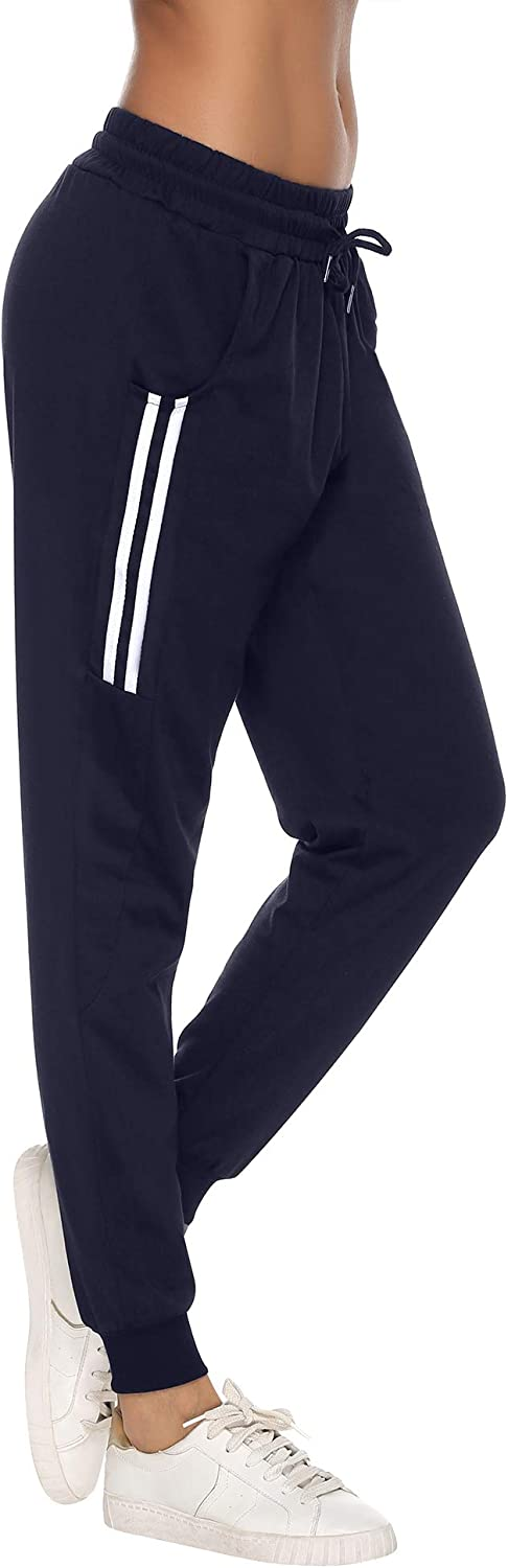 Aibrou Women Jogger Sweatpants Drawstring Waist Striped Side Cotton Yoga Workout Bottoms with Pocket
