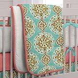 Carousel Designs Coral and Aqua Medallion Crib Comforter