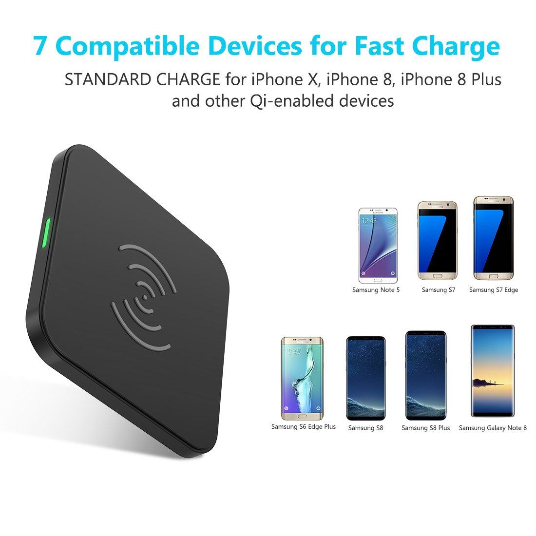 CHOETECH 10W Fast Wireless Charger Compatible Samsung Galaxy S9, S9 S8 Plus,Note 8, S8, S7, S7 Edge, Standard Wireless Charging Pad Compatible iPhone X, 8, 8 Plus (No AC Adapter) by CHOETECH (Image #5)