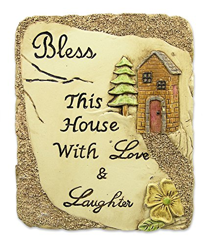 BANBERRY DESIGNS Bless This House Desktop Plaque with Inspirational Message Stone Decoration Carved House and ()